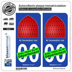 2 Autocollants plaque immatriculation Auto Breizh - Ar bonedoù ruz