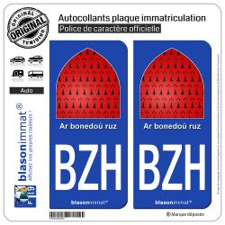 2 Autocollants plaque immatriculation Auto BZH Breizh - Ar bonedoù ruz