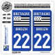 2 Autocollants plaque immatriculation Auto 22 Bretagne - LogoType