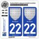 2 Autocollants plaque immatriculation Auto 22 Bretagne - Armoiries