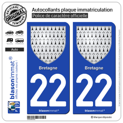 2 Autocollants plaque immatriculation Auto 22 Bretagne - Armoiries