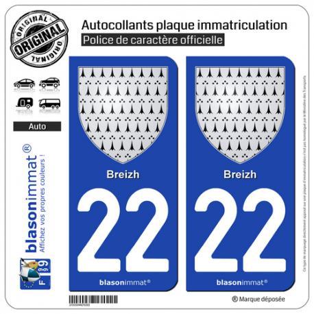 2 Autocollants plaque immatriculation Auto 22 Breizh - Armoiries