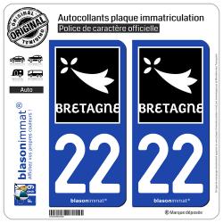2 Autocollants plaque immatriculation Auto 22 Bretagne - Région