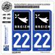 2 Autocollants plaque immatriculation Auto 22 Breizh - Rannvro