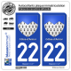 2 Autocollants plaque immatriculation Auto 22 Côtes-d'Armor - Armoiries