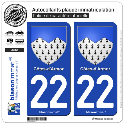 2 Autocollants plaque immatriculation Auto 22 Côtes-d'Armor - Armoiries