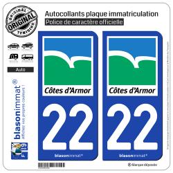 2 Autocollants plaque immatriculation Auto 22 Côtes-d'Armor - Département