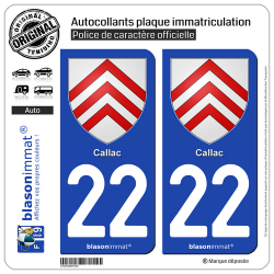 2 Autocollants plaque immatriculation Auto 22 Callac - Armoiries