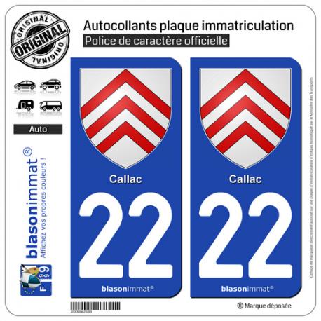 2 Autocollants plaque immatriculation Auto 22 Callac - Armoiries
