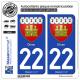 2 Autocollants plaque immatriculation Auto 22 Dinan - Armoiries