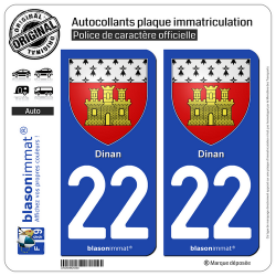 2 Autocollants plaque immatriculation Auto 22 Dinan - Armoiries