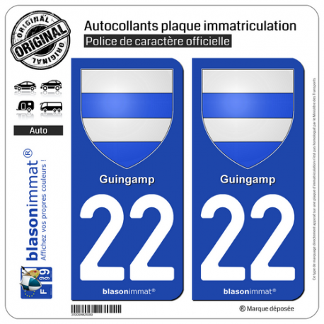 2 Autocollants plaque immatriculation Auto 22 Guingamp - Armoiries