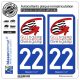 2 Autocollants plaque immatriculation Auto 22 Guingamp - Ville