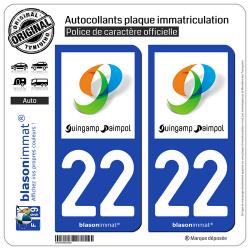 2 Autocollants plaque immatriculation Auto 22 Guingamp - Agglo