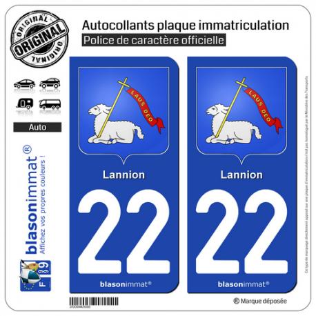 2 Autocollants plaque immatriculation Auto 22 Lannion - Armoiries