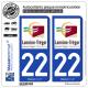 2 Autocollants plaque immatriculation Auto 22 Lannion - Agglo