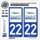 2 Autocollants plaque immatriculation Auto 22 Saint-Brieuc - Ville