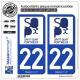 2 Autocollants plaque immatriculation Auto 22 Saint-Quay-Portrieux - Ville
