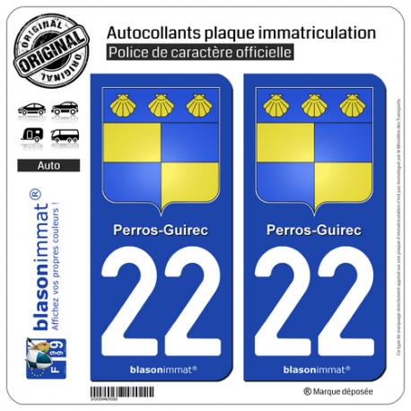 2 Autocollants plaque immatriculation Auto 22 Perros-Guirec - Armoiries