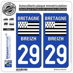 2 Autocollants plaque immatriculation Auto 29 Bretagne - LogoType