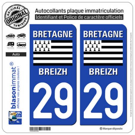 2 Autocollants plaque immatriculation Auto 29 Bretgane - LogoType