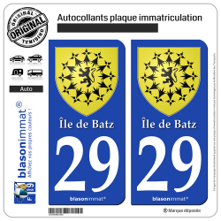 2 Autocollants plaque immatriculation Auto 29 Île de Batz - Armoiries