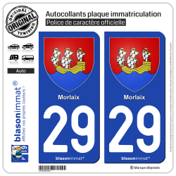 2 Autocollants plaque immatriculation Auto 29 Morlaix - Armoiries
