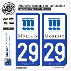 2 Autocollants plaque immatriculation Auto 29 Morlaix - Ville