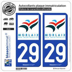 2 Autocollants plaque immatriculation Auto 29 Morlaix - Agglo