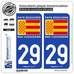 2 Autocollants plaque immatriculation Auto 29 Pays Bigouden - Drapeau