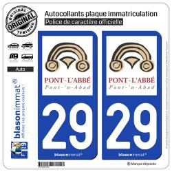 2 Autocollants plaque immatriculation Auto 29 Pont-l'Abbé - Ville
