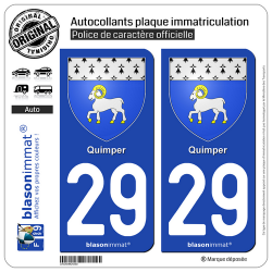 2 Autocollants plaque immatriculation Auto 29 Quimper - Armoiries