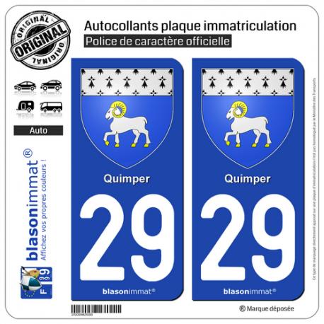 2 Autocollants plaque immatriculation Auto 29 Quimper - Armoiries