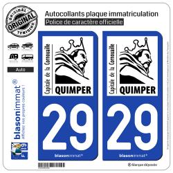 2 Autocollants plaque immatriculation Auto 29 Quimper - Tourisme