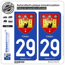 2 Autocollants plaque immatriculation Auto 29 Cléder - Armoiries