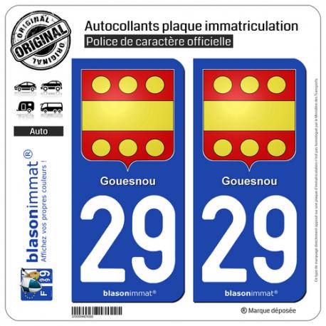 2 Autocollants plaque immatriculation Auto 29 Gouesnou - Armoiries