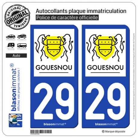 2 Autocollants plaque immatriculation Auto 29 Gouesnou - Commune