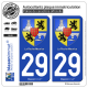 2 Autocollants plaque immatriculation Auto 29 La Roche-Maurice - Armoiries