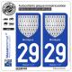 2 Autocollants plaque immatriculation Auto 29 Bretagne - Armoiries