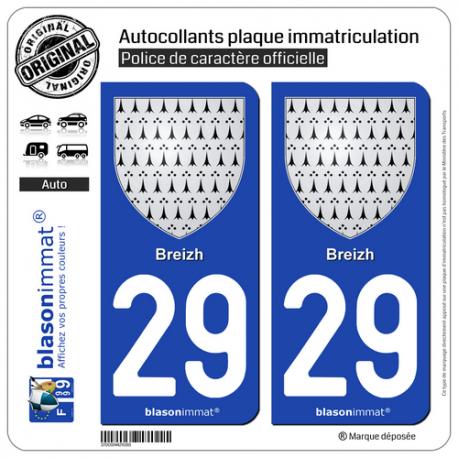 2 Autocollants plaque immatriculation Auto 29 Breizh - Armoiries