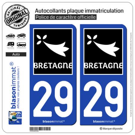 2 Autocollants plaque immatriculation Auto 29 Bretagne - Région