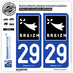 2 Autocollants plaque immatriculation Auto 29 Breizh Rannvro