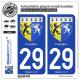 2 Autocollants plaque immatriculation Auto 29 Finistère - Armoiries