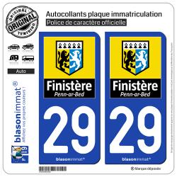 2 Autocollants plaque immatriculation Auto 29 Finistère - Département