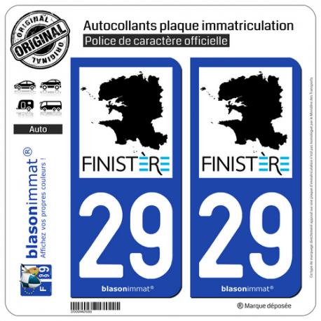 2 Autocollants plaque immatriculation Auto 29 Finistère - Tourisme