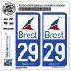 2 Autocollants plaque immatriculation Auto 29200 Brest - Ville