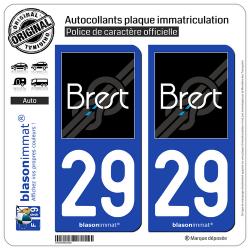 2 Autocollants plaque immatriculation Auto 29 Brest - Agglo