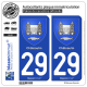 2 Autocollants plaque immatriculation Auto 29 Châteaulin - Armoiries