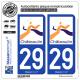 2 Autocollants plaque immatriculation Auto 29 Châteaulin -Ville