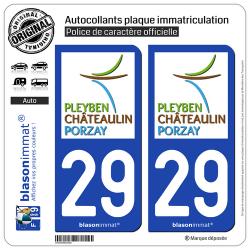 2 Autocollants plaque immatriculation Auto 29 Châteaulin - Agglo